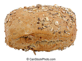Wholegrain bread roll isolated over white background