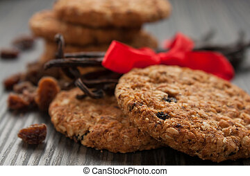Wholegrain cookies - Pile of wholegrain cookies with raisins...