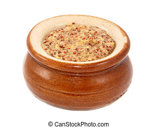 Wholegrain mustard served in a small ceramic pot