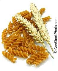 Wholegrain pasta with wheat on white background