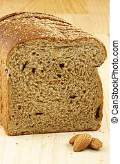 wholegrain raisins and almonds bread
