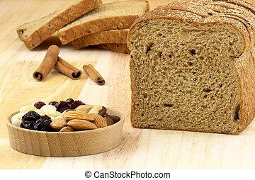 wholegrain raisins and assorted nuts bread