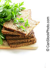 wholegrain rye bread with bran and seeds, healthy eating