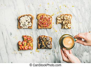 wholegrain, saudável, mulher, espresso, mãos, pequeno almoço, brindes