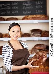 wholemeal, bageri, bread, holdingen, salesgirl
