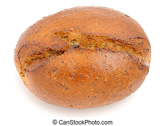 Wholemeal bread roll isolated on white background