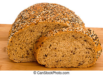 Wholemeal bread slice with poppy, sunflower, and sesame ...