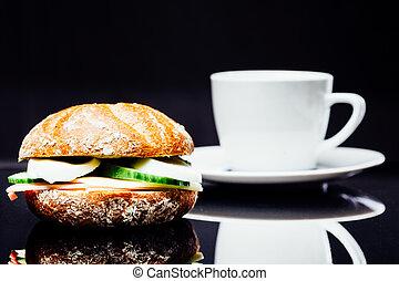 wholemeal, kawa, sandwicz, śniadanie, filiżanka