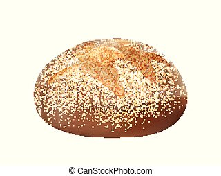wholemeal, pão, 3d, isolado, pão