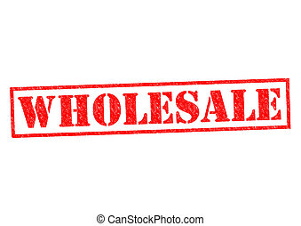 WHOLESALE red Rubber Stamp over a white background.