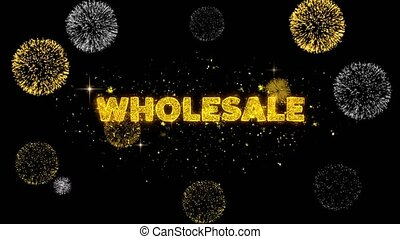 Wholesale Text Reveal on Glitter Golden Particles Firework. Sale, Discount Price, Off Deals, Offer promotion offer percent discount ads 4K Loop Animation.