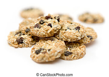 Bunch of cookies isolated on a white background, Shallow depth of field.
