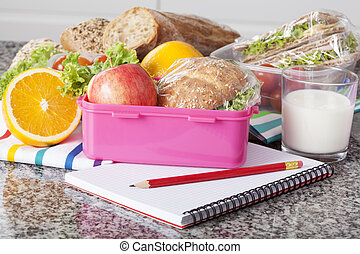 Close up of lunchbox with wholesome food for breakfast