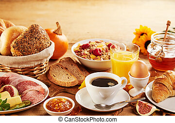 Wholesome spread of fresh food for breakfast