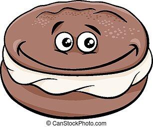 whoopie, pastel, ilustración, caricatura