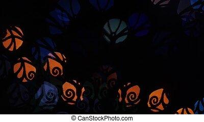 Whorl lights bokeh on black background. Shape