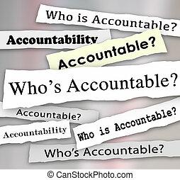 who's, accountable, 調査, 責任, ニュース, 見出し