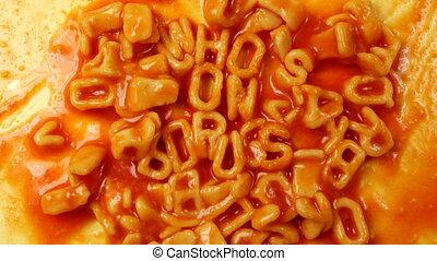 who's on drugst written with alphabetti spaghetti on toast,...