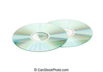 whte, cd, dischi, isolato, due