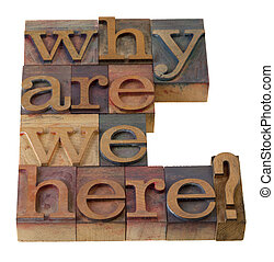 philosophical question, why are we here , in vintage wooden letterpress printing blocks, stained by color inks, isolated on white