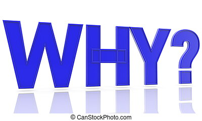 Why? concept in blue color on white
