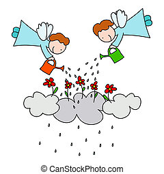 Why does it rain - Two angels watering flowers