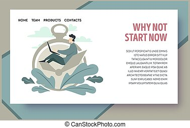 Time management and productivity booster, procrastination overcome. Male working with laptop coping with deadlines. Strategy and planning. Website or webpage template, landing page flat style vector