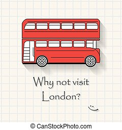 Why not visit London - funny London bus inscription template on mathematical squares paper