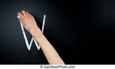 why?, question, écrit, timelapse, blackboard., main, craie, écrit, heated.