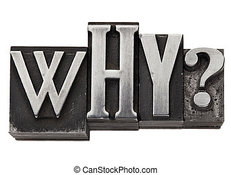 why - isolated question in vintage letterpress metal type