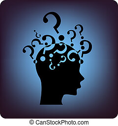 Question marks above the brain