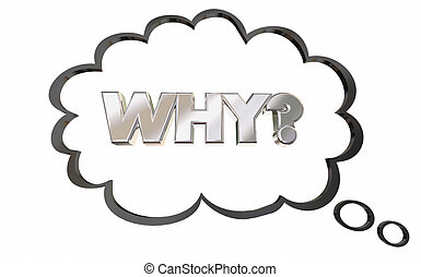 Why Wondering Reason Thought Bubble Thinking Question 3d Illustration