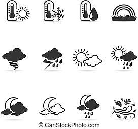 więcej, -, pogoda, jednorazowy, kolor, ikony