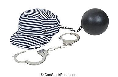 więzień, piłka, łańcuch, kajdany, pasiasty, kapelusz