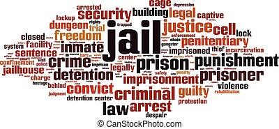 więzienie, chmura, słowo
