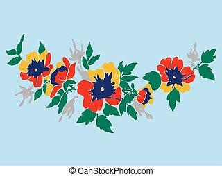 wiśnia, gałęzie, z, kwiaty, wektor, ilustracja, odizolowany,...