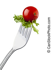 wiśniowy pomidor, i, kędzierzawa cykoria, na, niejaki, widelec