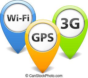 Wi-Fi, 3G and GPS Icons - Wi-Fi, 3G and GPS icons, vector...