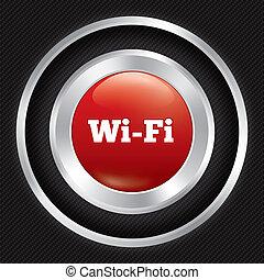 Wi-fi button. Metallic wifi icon on Carbon fiber
