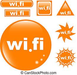 Wi Fi button set glossy icon