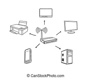 wi-fi concept - scheme wi-fi concept on white background