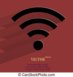 WI-FI. Flat modern web button with long shadow and space for...