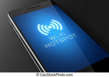 Wi-fi hotspot icon on smart phone screen