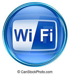 WI-FI icon blue, isolated on white background