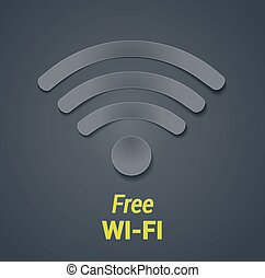 wi-fi icon vector illustration. free wi-fi hotspot symbol as dark paper cut out. vector