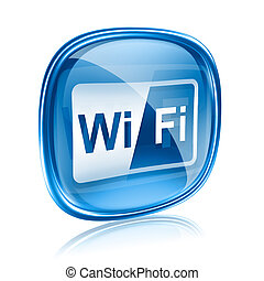 wi-fi, icona, vetro blu, isolato, bianco, fondo