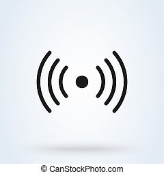 wi-fi., illustration., semplice, moderno, disegno, fili, rete, vettore, icona