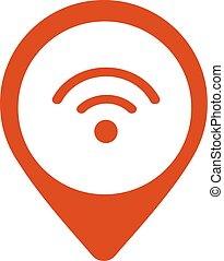 wi-fi, indicateur, emplacement, vector., icône