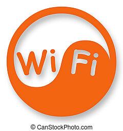Wi-Fi internet access sign stylized in Yin Yang
