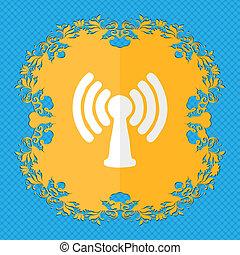 wi - fi, internet., floral, plano, diseño, en, un, azul, resumen, plano de fondo, con, lugar, para, su, text.